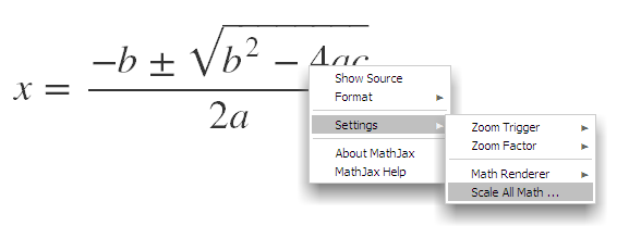 right context menu for scaling all equations