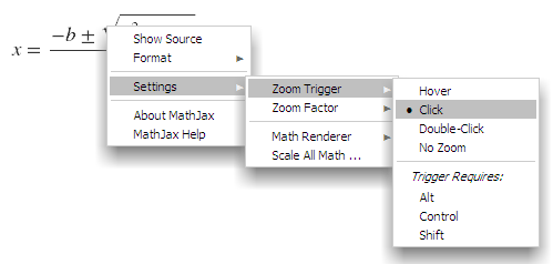 right context menu for zoom trigger